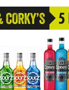 5 shots of Sourz or Corky's for £5