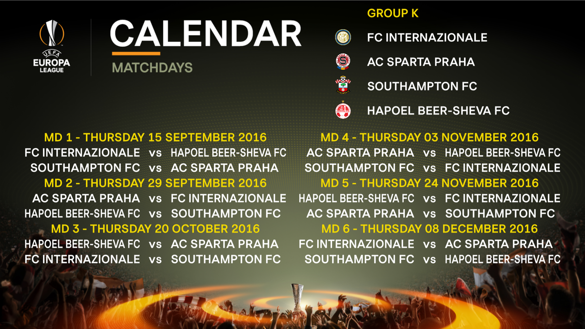 Europa League Calendario Milan.British Clubs Learn European Group Stage Opponents Last